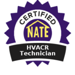 badge for nate certified heating installation and service