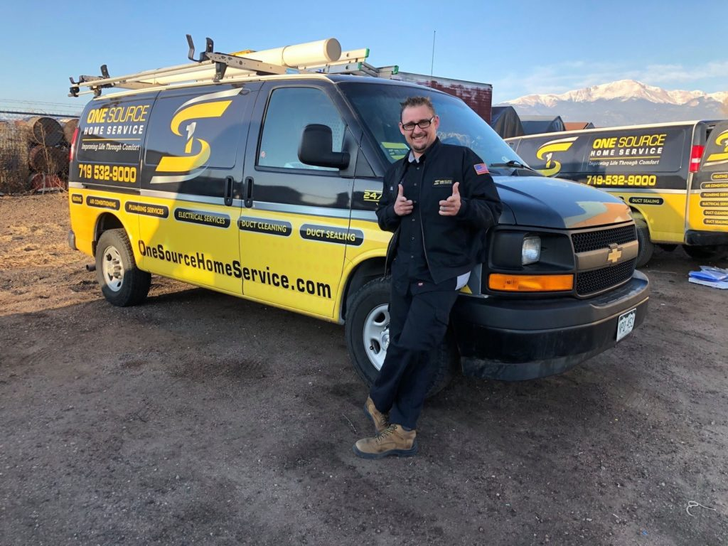 one source home services van thumbs up